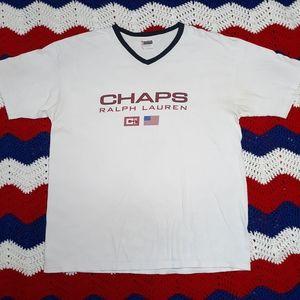 VTG Chaps Ralph Lauren Branded V-Neck T-shirt L